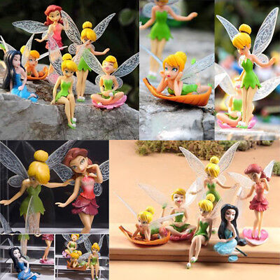 6pcs Tinker Bell Fairies Figures PVC Cake Topper Secret Gift Kids Party Toy