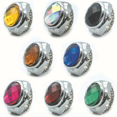 Lady Girl Round Elastic Alloy Gemstone Watch Finger Ring Watches Charming Gifts
