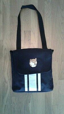 Red Shiba Inu Embroidered Black Tote Bag 12x12x2 in Excellent Condition
