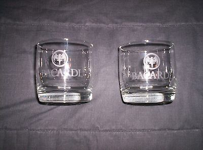 Set of 2 Collectable Bacardi Clear Tumbler Whiskey Glass on the rocks Ships Free