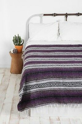 Authentic Mexican Falsa Blanket Hand Woven Mat Bed Blanket 76L x 53W Dark Purple