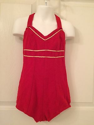 vintage 1940's little girl's swimsuit, red wool knit