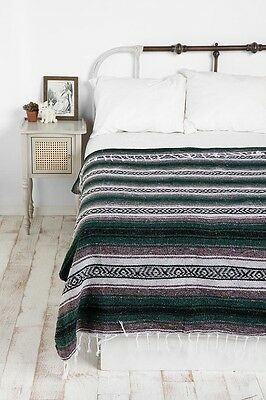 Authentic Mexican Falsa Blanket Hand Woven Mat Blanket 72Lx48W Dark Green Forest