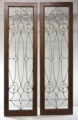 Pair of Framed Fully Beveled Glass Sidelights