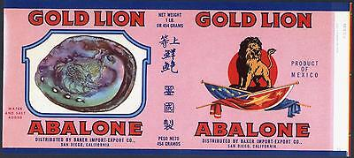 *Original* GOLD LION Shellfish ABALONE Shell San Diego Can Label NOT A COPY!