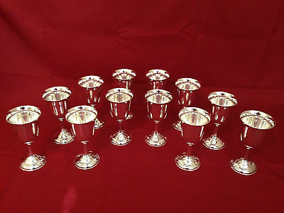 12 Solid Sterling Silver Goblets (.950 grade cups)