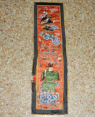 Antique Chinese Hand Embroidery Figurative Wall Hanging Panel 78X22cm (X154)