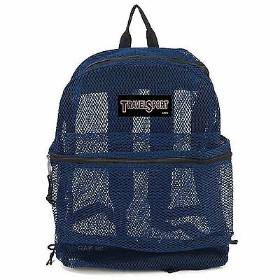 Travel Sport Mesh Backpack Navy Heavy Duty School Gym Bag [4036NB]