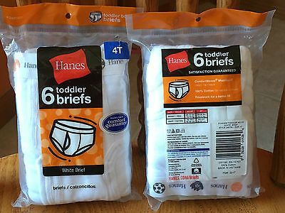 12pair Toddler Boys Hanes White Briefs Underwear 4T