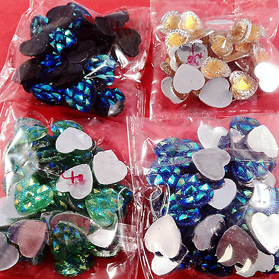 150pcs HEARTS EMBELLISHMENTS - craft cardmaking cabochon toppers