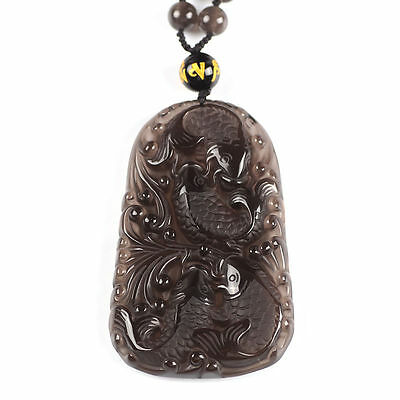 Natural Ice Clear Obsidian Hand Carved Fish Lucky Pendant Necklace