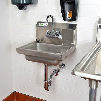 """Regency 17"""" x 15"""" Wall Mount Hand Wash Sink Commercial with Goose Neck Faucet"""