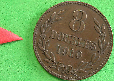 L-too: GUERNSEY 1910-H 8 DOUBLES ~~ LOW MINTAGE ~~ ONLY 91,000 FOR WHOLE WORLD