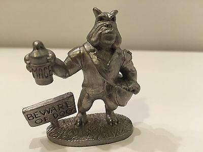 Vintage Spoontiques Pewter Bulldog US Mail Beware Of Dog 1867