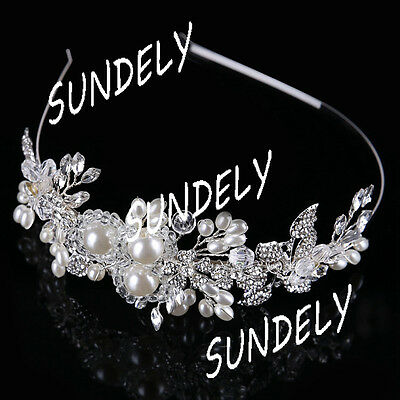 Bridal Headband Wedding Party Hair Band Crystal White Pearl Headpiece Tiara