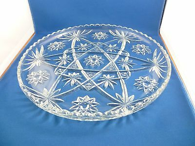 Vintage Large Christmas Platter Cut Glass / Crystal Heavy Made 34 Cm Across