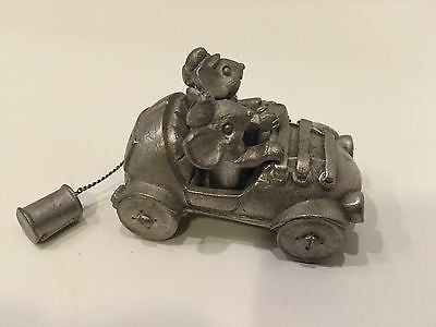 """Vintage Spoontiques Pewter Newlywed Mice in Car """"Just Married"""" PP 1047"""