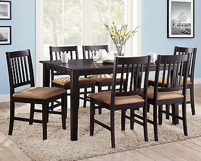 7 piece espresso dining set piece dining set espresso brown wood dinner table cushioned chairs seats piece dining