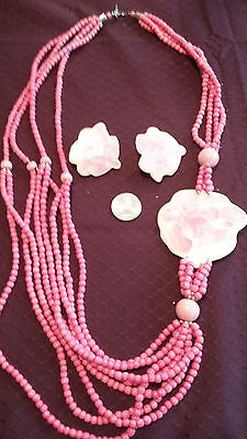 Pink rose earrings and necklace set costume jewelry