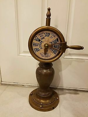"Vintage Antique Brass Engine Order Ship Telegraph 24""H circa 1960 Replica"