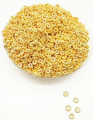 500Pcs 4mm Gold Color Tiny Daisy Acrylic Spacer Loose Beads DIY Free Ship