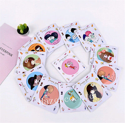 2 X Cartoon Portable Compact Pocket Cosmetic Mirror Women Necessory