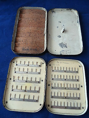 Early Vintage Black Japanned Wheatley 85 Clip Trout Fly Box + 1 Similar