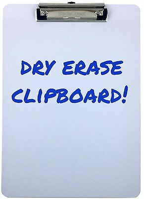 Clipboard Dry Erase Surface Low Profile Clip Whiteboard Single Pack of 1