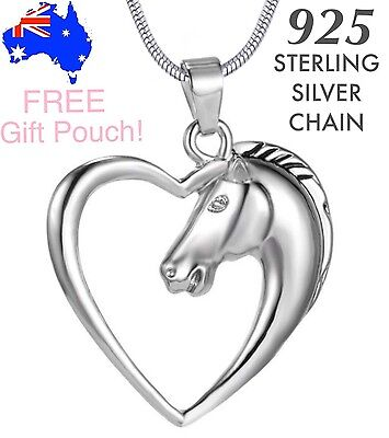 Stunning Horse Heart Charm Pendant 925 Sterling Silver Chain Necklace+Gift Pouch