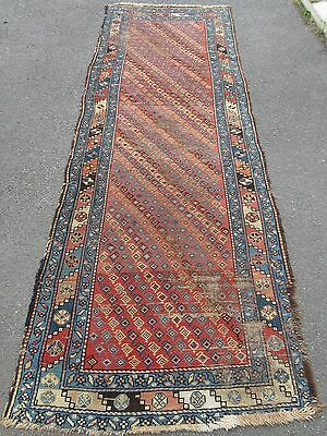 A Proper 100 Year Old Antique Country House Persian Kurdish Long Rug Runner