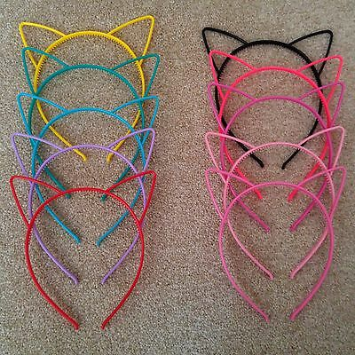 Plastic Cat Ears Headband Kid Adult Fancy Dress Hen Do Party Costume Alice Band