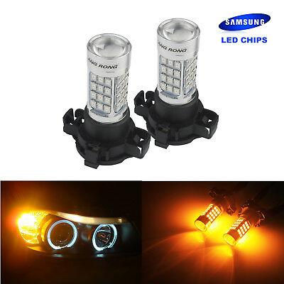 2x Amber PY24W PSY24W 5200 LED Light 45W Sidelight Signal Indicator Bulbs DRL UK