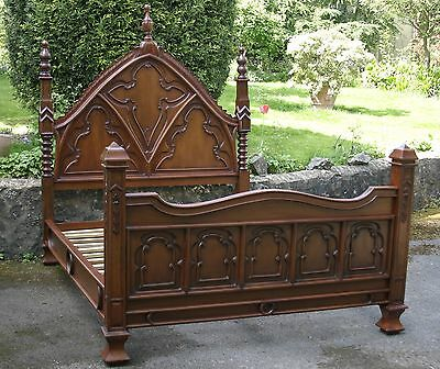 """Mahogany 4' 6"""" Double Size Carved Gothic Empire Bed with High Finials New"""