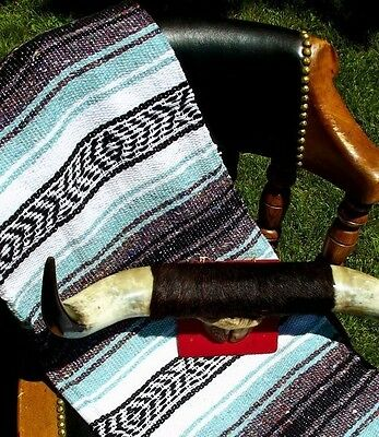 Authentic Mexican Falsa Blanket Hand Woven Mat Blanket 72Lx48W inches Sea Green