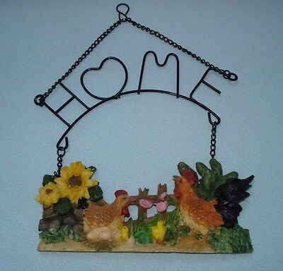 HOME Wall Hanging Plaque Country Farm Rooster Home Decor Beautiful 3D Detail