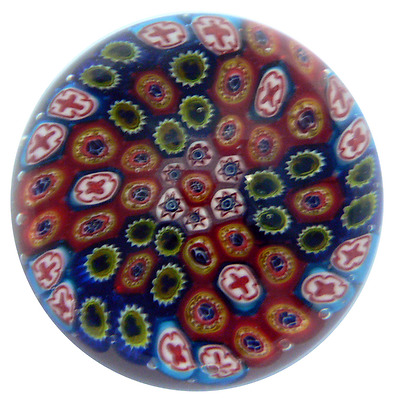 New Colour Glass Paperweight Millefiori Multicolour Red Blue 9.5 x 9.5 x 7 cm