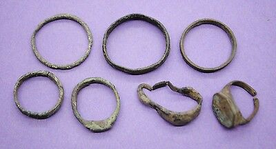 Group of 7 Medieval bronze rings 11th-15th century AD European finds