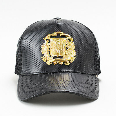44dae1f5fd435 Gold Star Dominican Republic Shield Gold Black Trucker Hat One Size Leather  Mesh