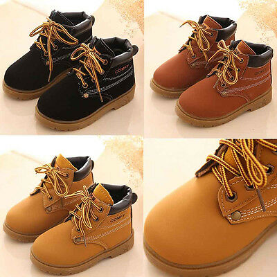 Child Kid Baby Boy Girl Army Martin Boots Winter Warm Leather Shoes Sneakers Lot