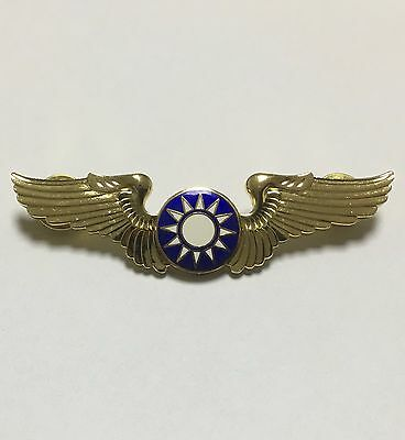 Chinese Old Style Kmt Kuomintang Wings Silver Metal Insignia Badge -1200