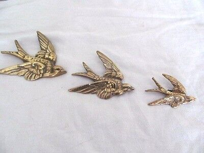 Three Lovely Antique Brass Swallow Birds Wall Hung.