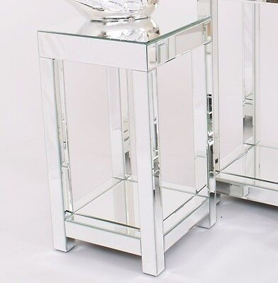 Small Mirrored Side Table End Venetian Glass Plant Lamp Stand Modern Furniture