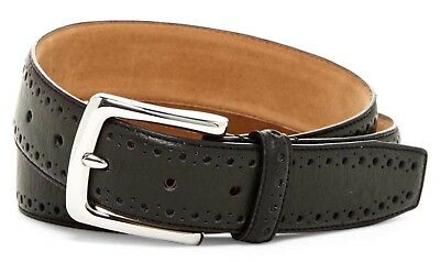 Cole Haan Men's Belt Perforated Trim Dress Belt In Black New W/Tags