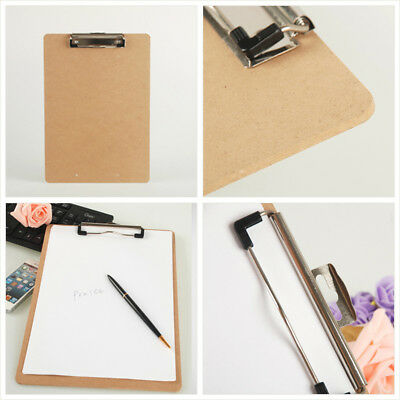 Wooden A5 File Paper Clip Wood Writing Board Metal Clip Document Clipboard FYUS