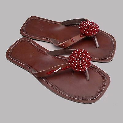 African Kenyan Leather Tribal Masai Beaded Flip-Flop Handmade Sandals UK6.5/EU40