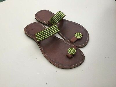 African Kenyan Leather Tribal Masai Bead Flip-Flop Braded Sandals UK6.5/EU40