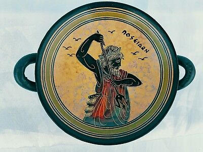 450 B.C. Ancient Greek Black Figured Kylix, Featuring The God Posieden. Greece