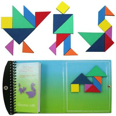120 Puzzles Magnetic Mathematic Tangram Toys Children Kids IQ Learning Game Book