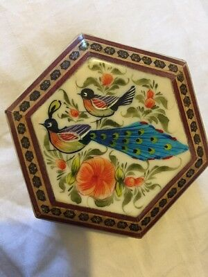 Exquisite Iranian Persian Khatam Inlaid Marquetry Hand-Painted Miniature Box