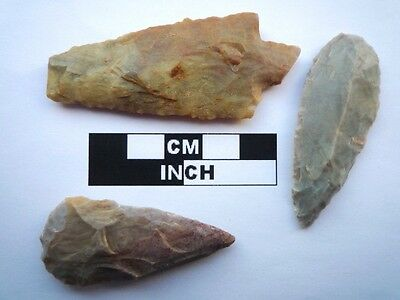 3 x Neolithic Spearheads, Saharan Flint Artifacts - 4000BC  (0925)